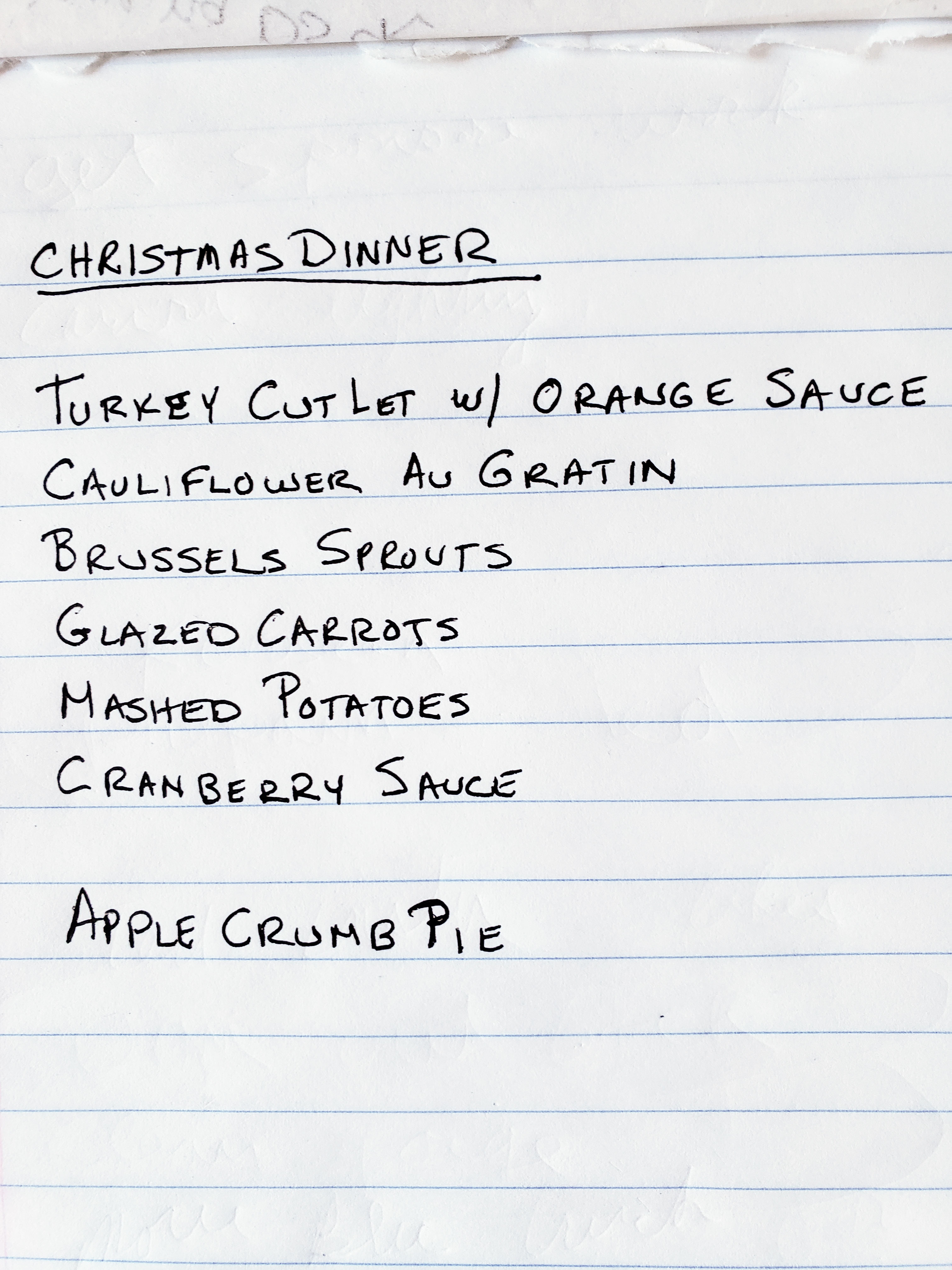 Christmas dinner list of dishes, master list