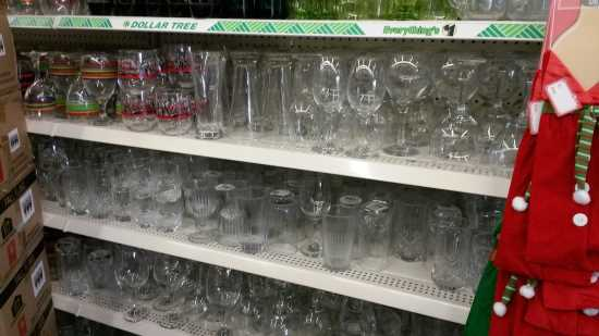 dollar store shelves showing great glass ware for centerpieces