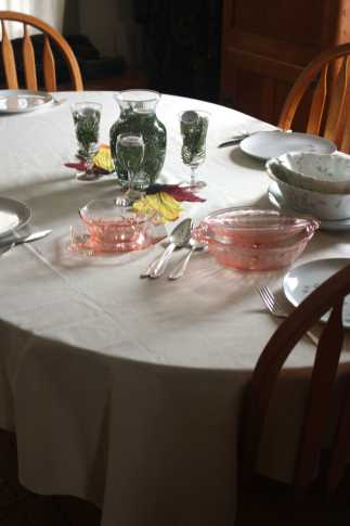 Table set with all serving dishes