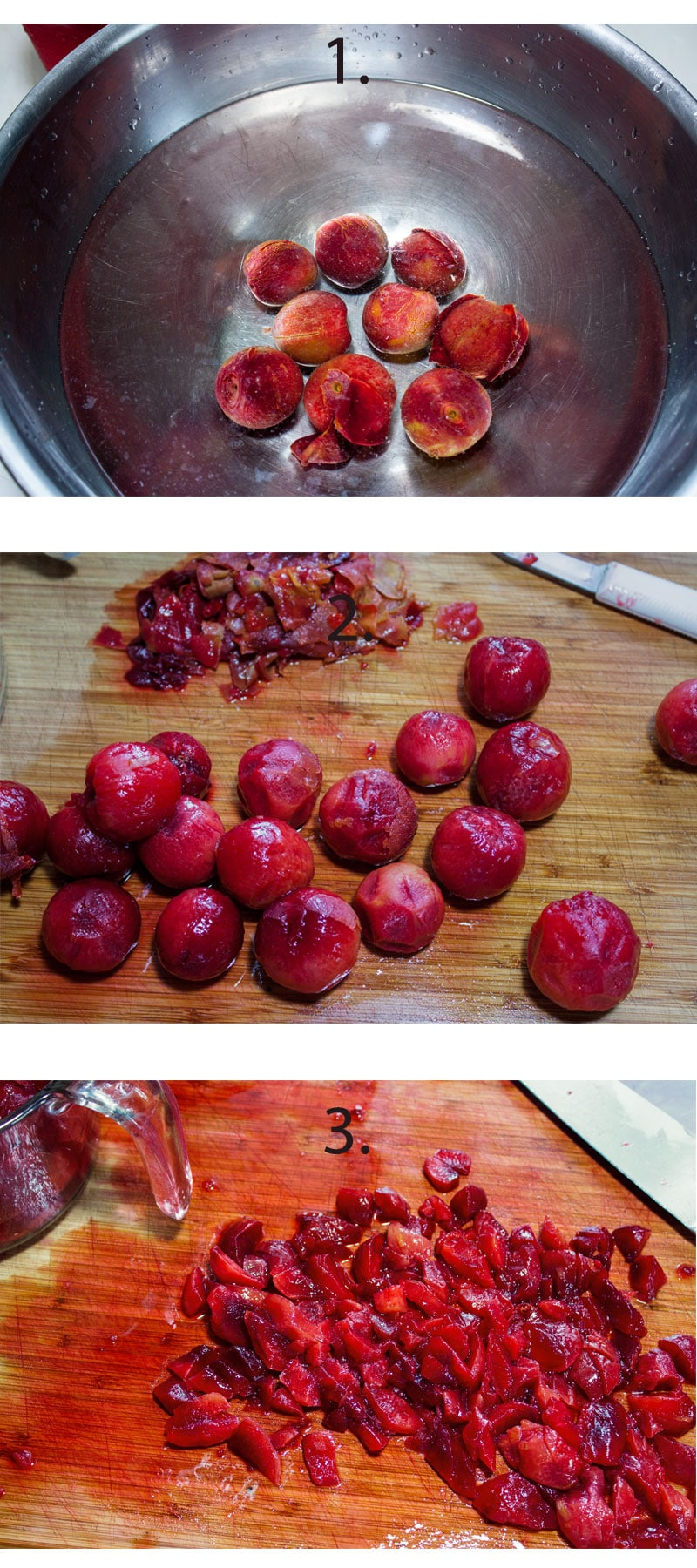 Blanching plums. Peeling plums. Chopped plums on board.