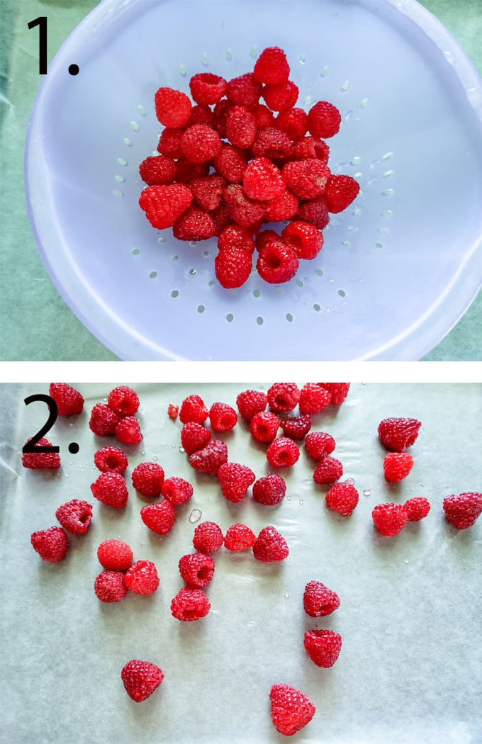 Rinsed raspberries in colander. Raspberries spread out on waxed paper