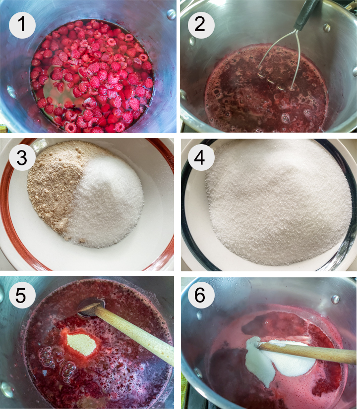 Raspberries and water in large pot. Mashed raspberries cooked down. Sugar and pectin in bowl. Sugar in another bowl. Pectin added to pot. Sugar added to jam.