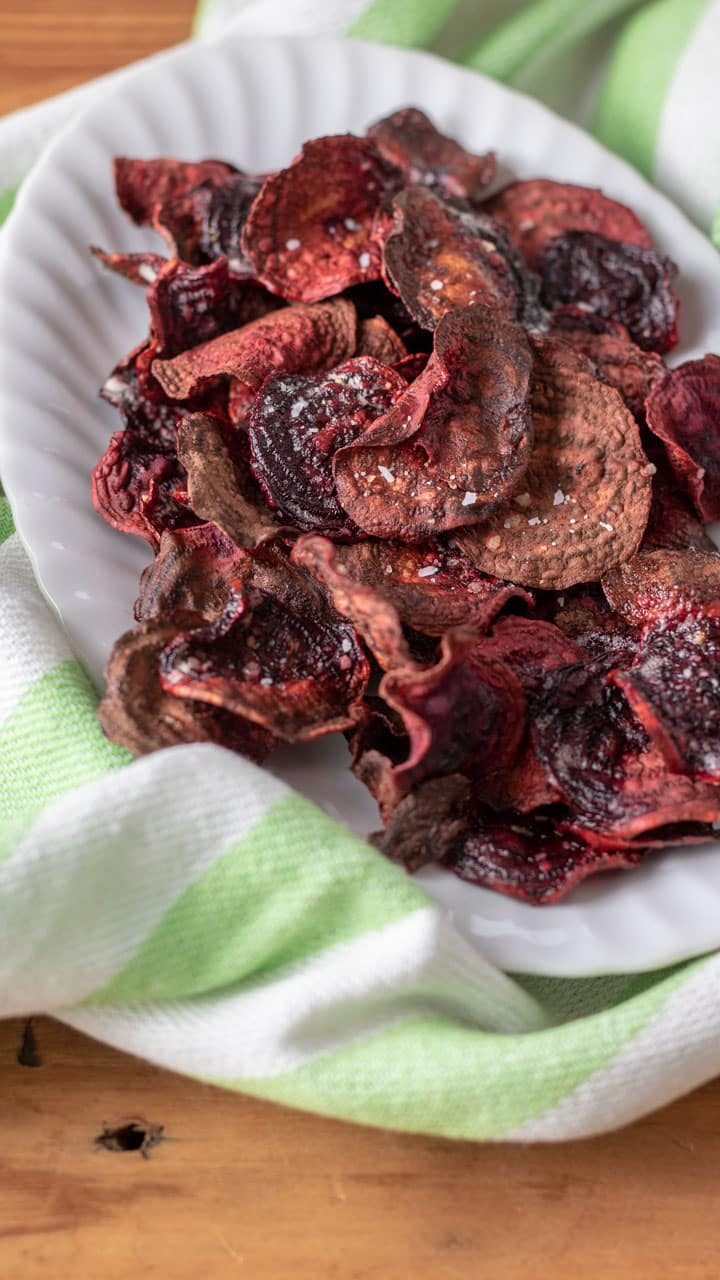 beet chips on white plate.