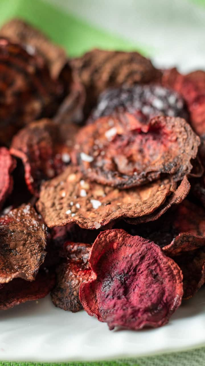 close up of beet chips with salt.