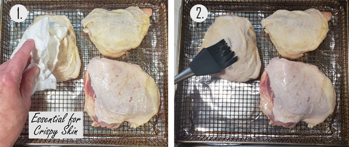 Drying chicken with paper towel. Brushing chicken with oil.