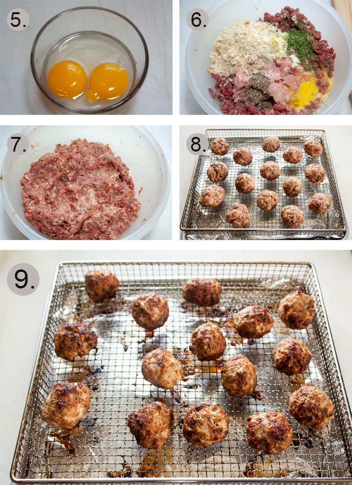 Eggs cracked in small bowl. All ingredients added to meat. Meatballs mixed up bowl. Formed meatballs on air fryer rack. Meatballs mixed up bowl. Formed meatballs on air fryer rack.