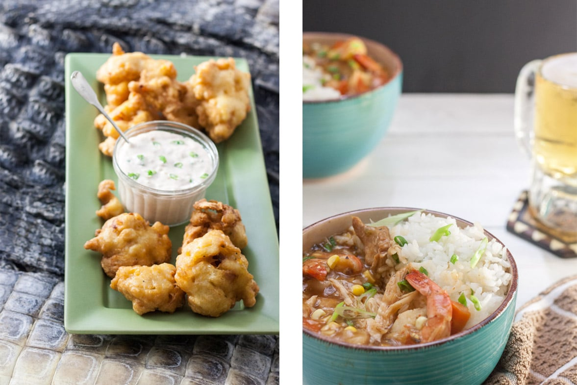 collage of both alligator recipes, hush puppies and piquant