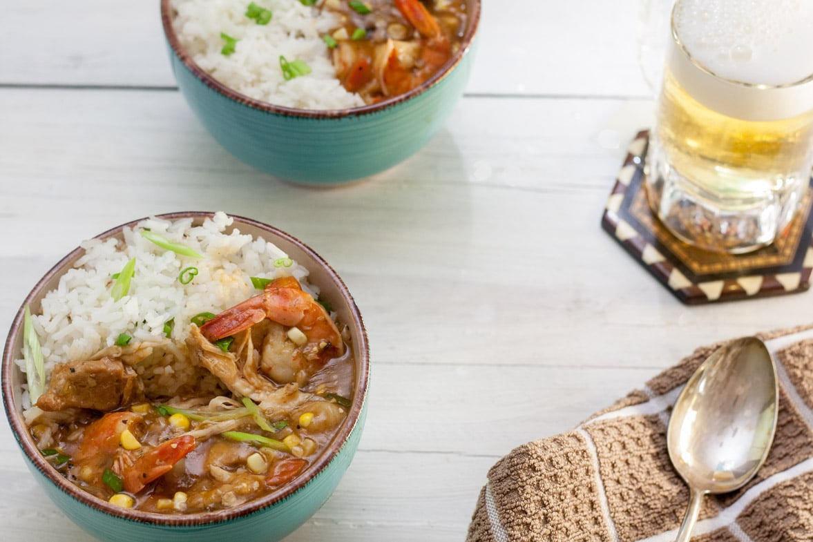 alligator recipes - piquant in blue bowl with rice