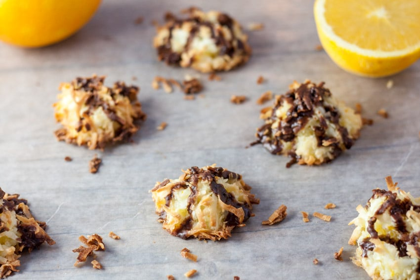 Golden brown ambrosia macaroons with oranges