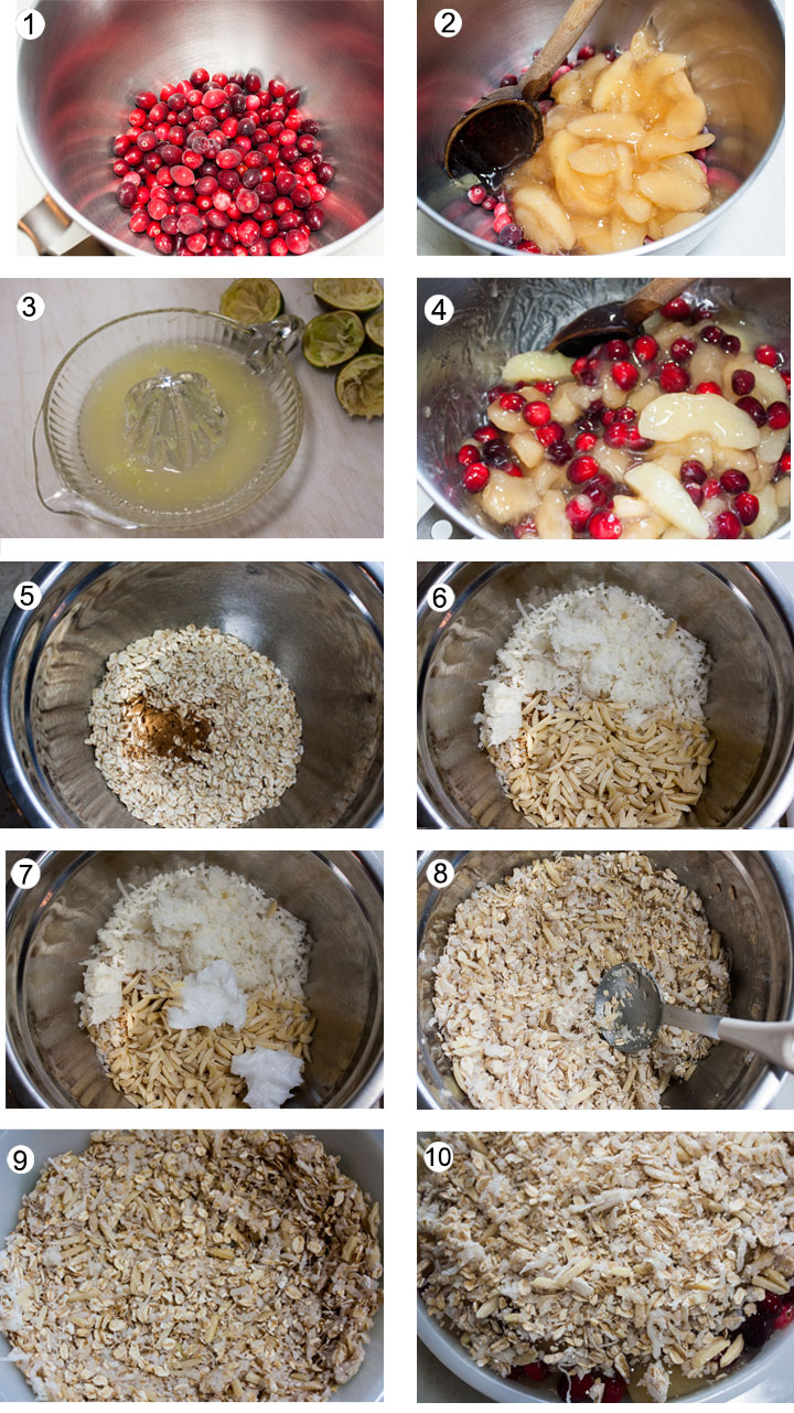 Whole cranberries in mixing bowl. Apple pie filling mixed with cranberry. Juiced lime juice. Mix lime juice with fruit. Oats mixed with spices. Coconut and almonds added to bowl. Coconut oil added to topping. Topping mixed well. Some of the oat mixture pressed into bottom of casserole. Fruit added to casserole. Topping added to top of fruit.