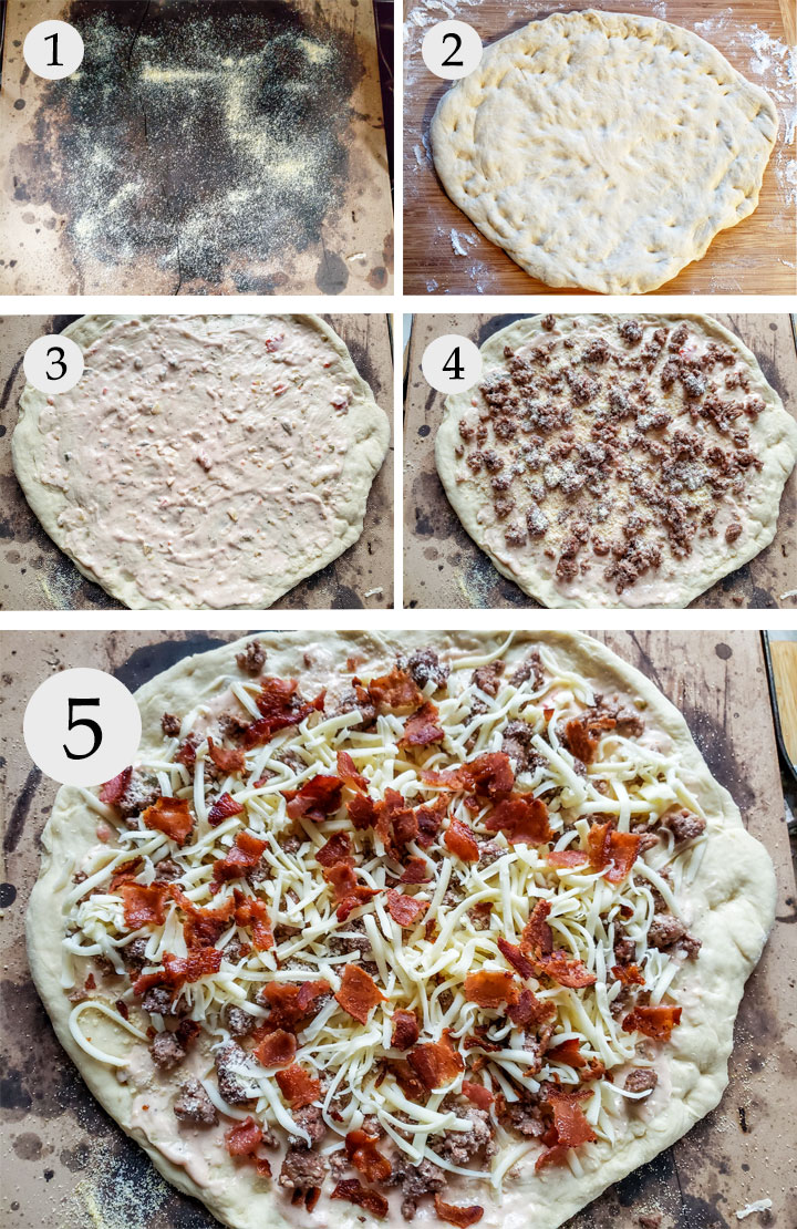 Pizza stone with cornmeal. Dough shaped on board. Dough on stone topped with sauce, cheese and meat. Dough with bacon added.