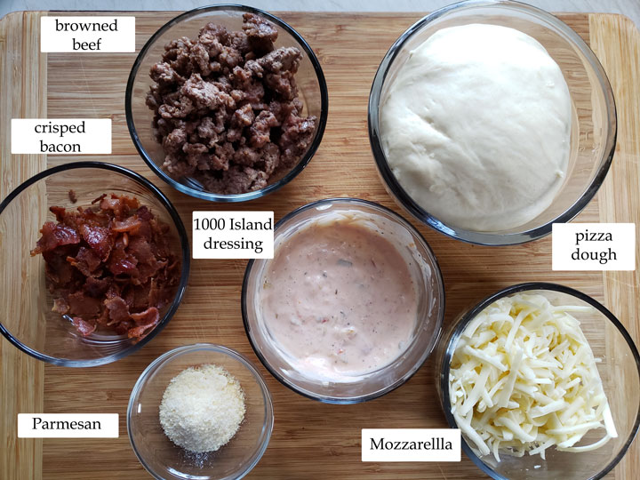 photo of ingredients for bacon cheeseburger pizza