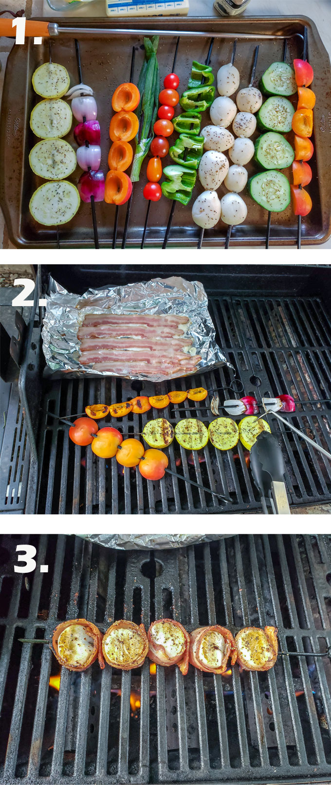 Vegetables on skewers. Bacon on tin foil. scallops wrapped in bacon.
