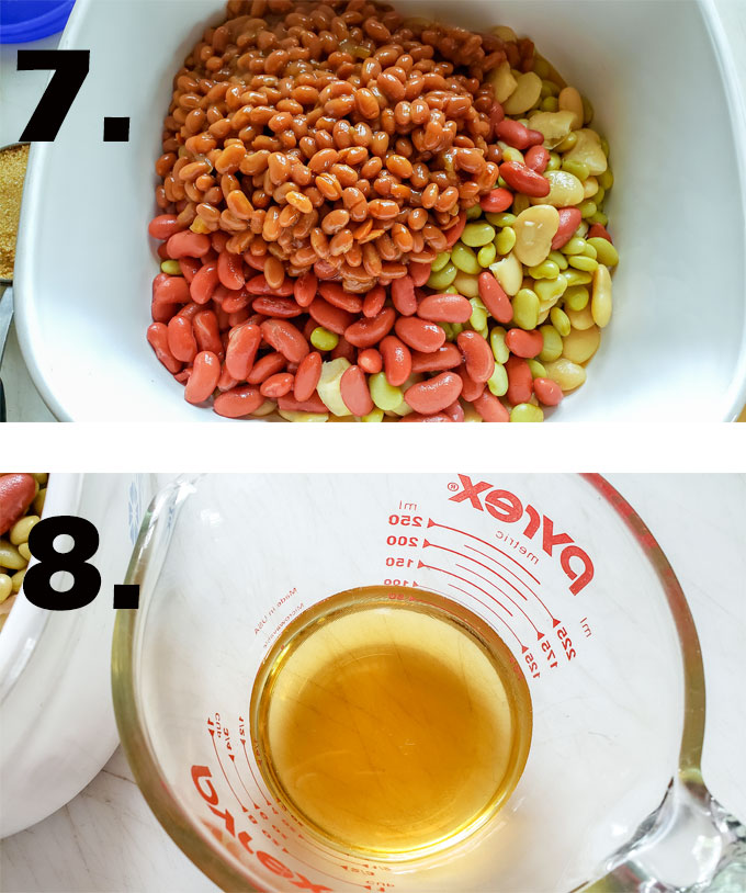 All beans in casserole. Vinegar measured in cup.