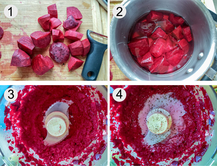 chopped beets. Beets in pan with water. Beets in food processor. Finished puree in food processor.