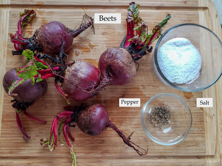 Ingredients for beet puree on cutting board.