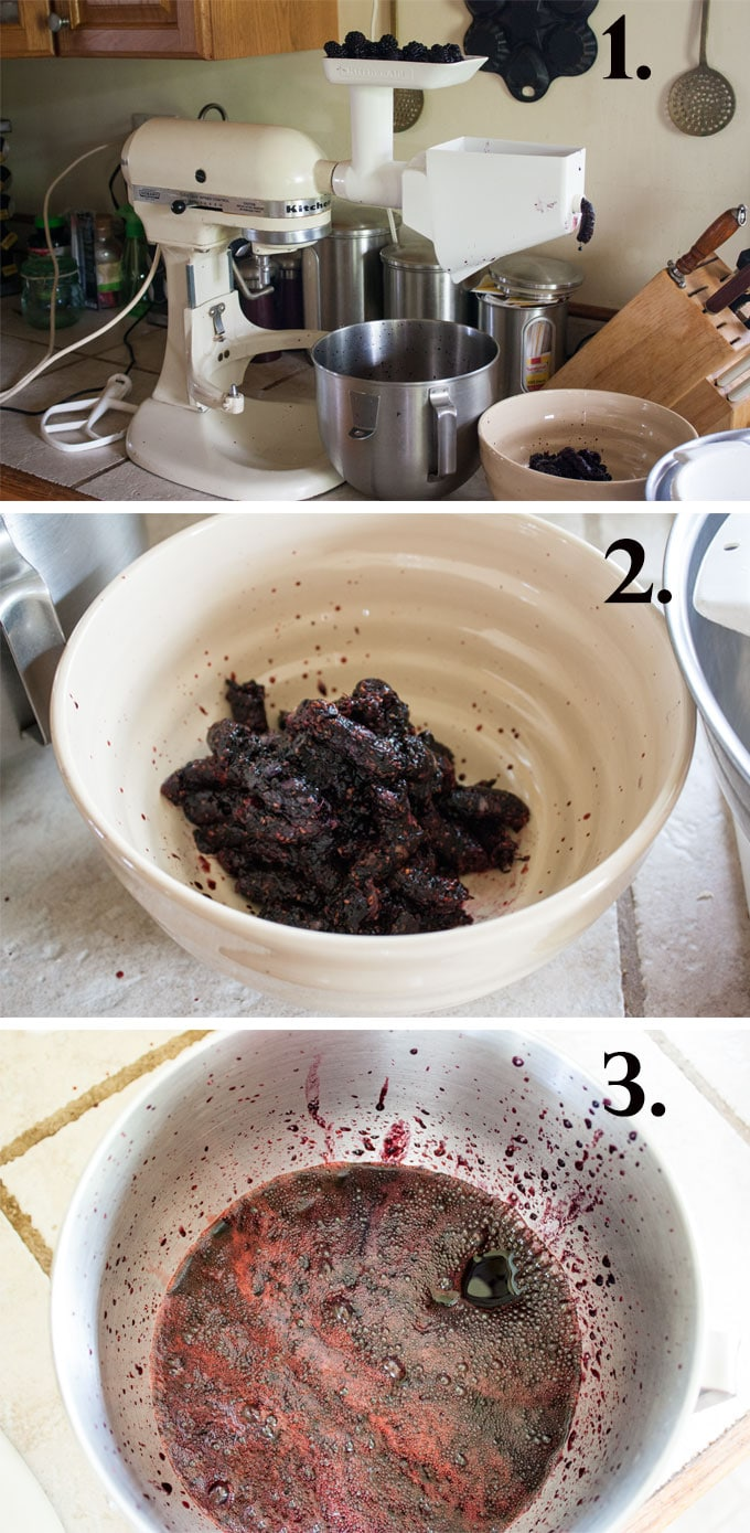Procedure collage of this blackberry jam recipe