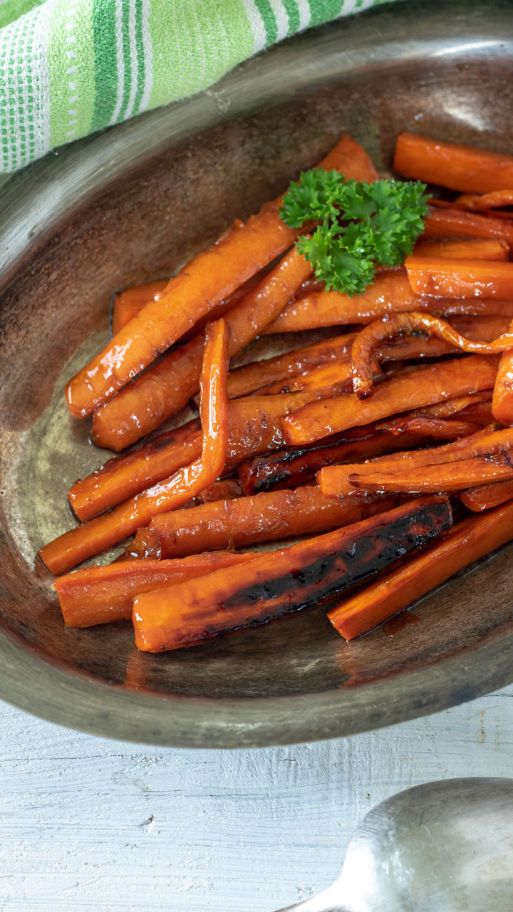 Brown Sugar Glazed Carrots in serving dish.