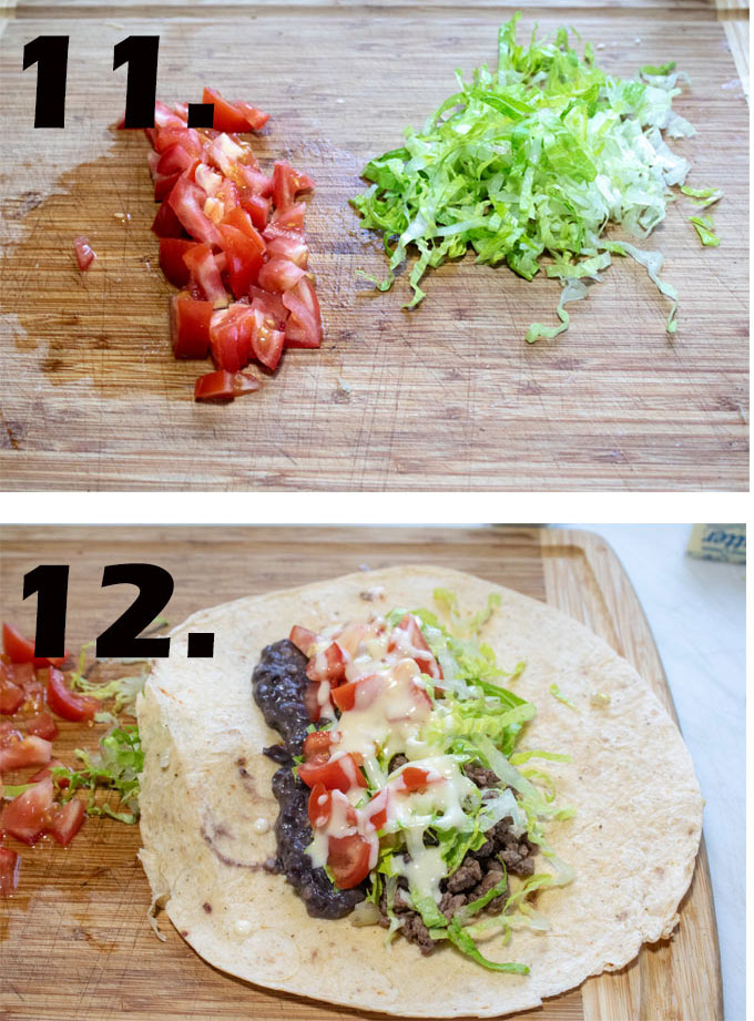 Lettuce and tomatoes chopped on cutting board. Inside of burritos showing all of the filling.