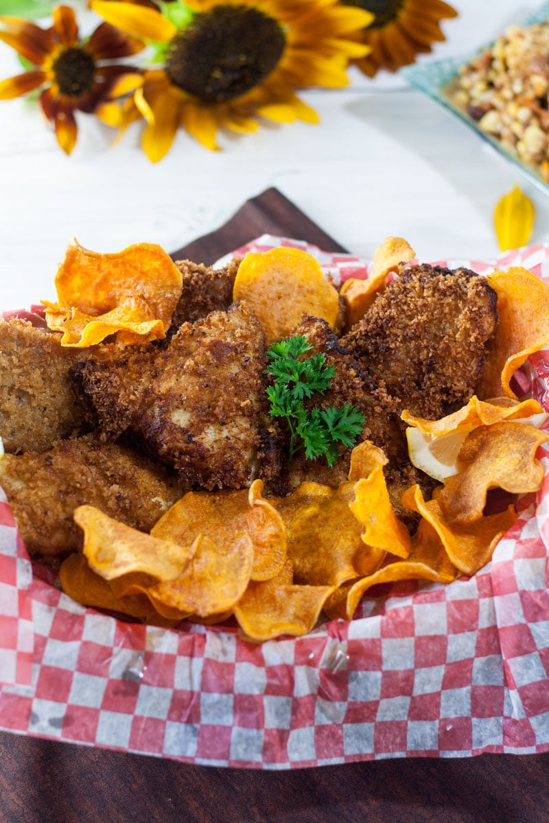 catfish in basket with sweet potato chips