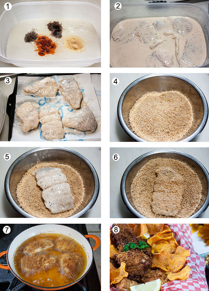 Spices added to buttermilk in tupperware container. Fish added to marinade. Panko crusted catfish recipe procedure. Fish coated with breading. Fish frying in pan.