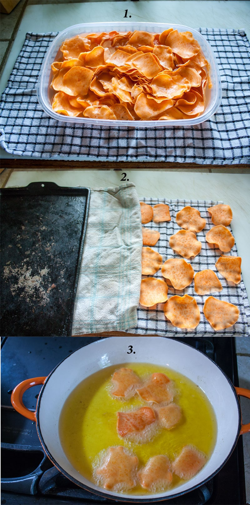 Sweet potato chips recipe procedure photos
