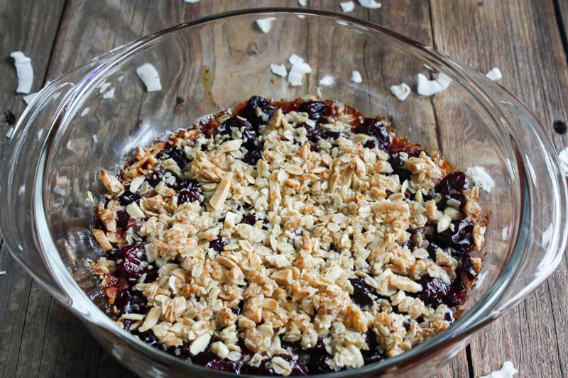 cherry crisp in clear casserole for 4th of july recipe