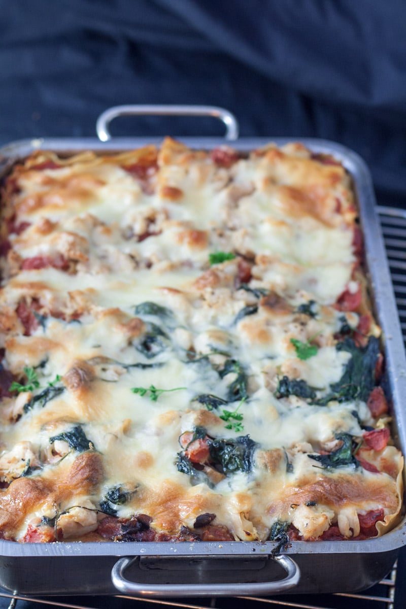 Entire pan of chicken florentine lasagna