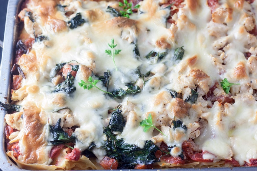 partial pan of chicken florentine lasagna