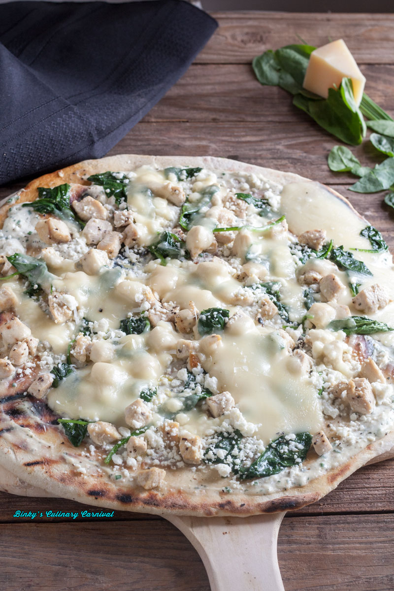 Grilled Thin Crust Chicken Pizza with Ricotta and Spinach 4