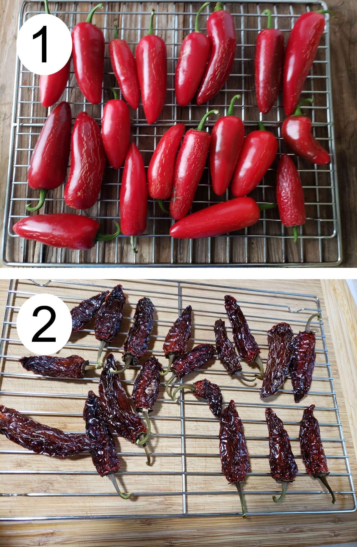 Fresh jalapenos on racks. Dried chipotles on rack