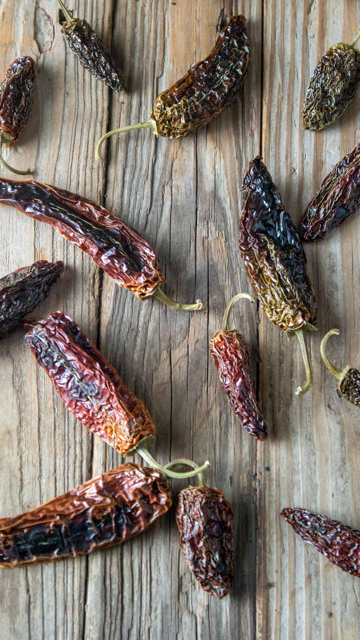 dried chipotle peppers on barnwood