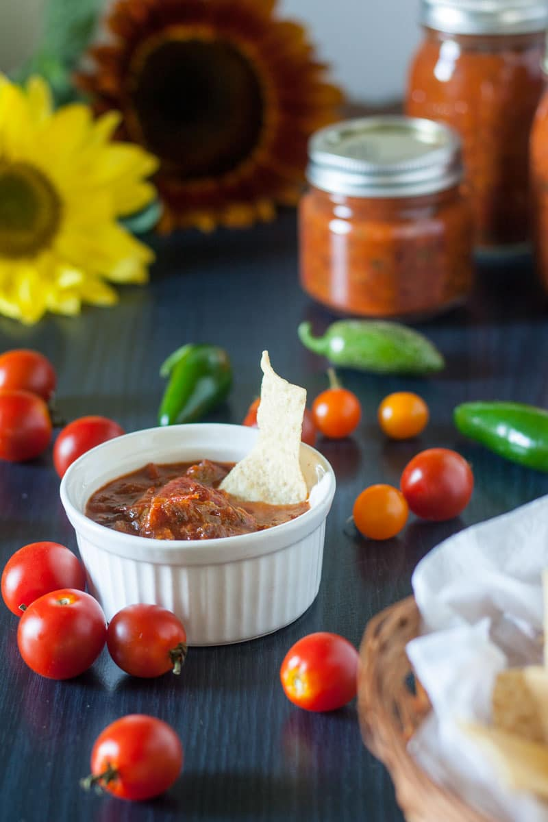 chipotle salsa in a white ramekin with corn chip