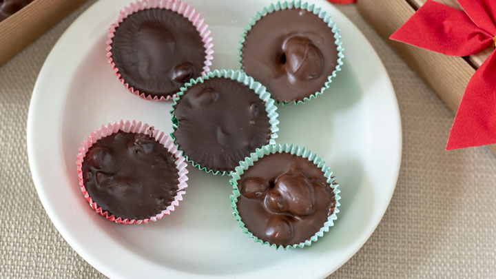 Close up of Chocolate covered nuts.