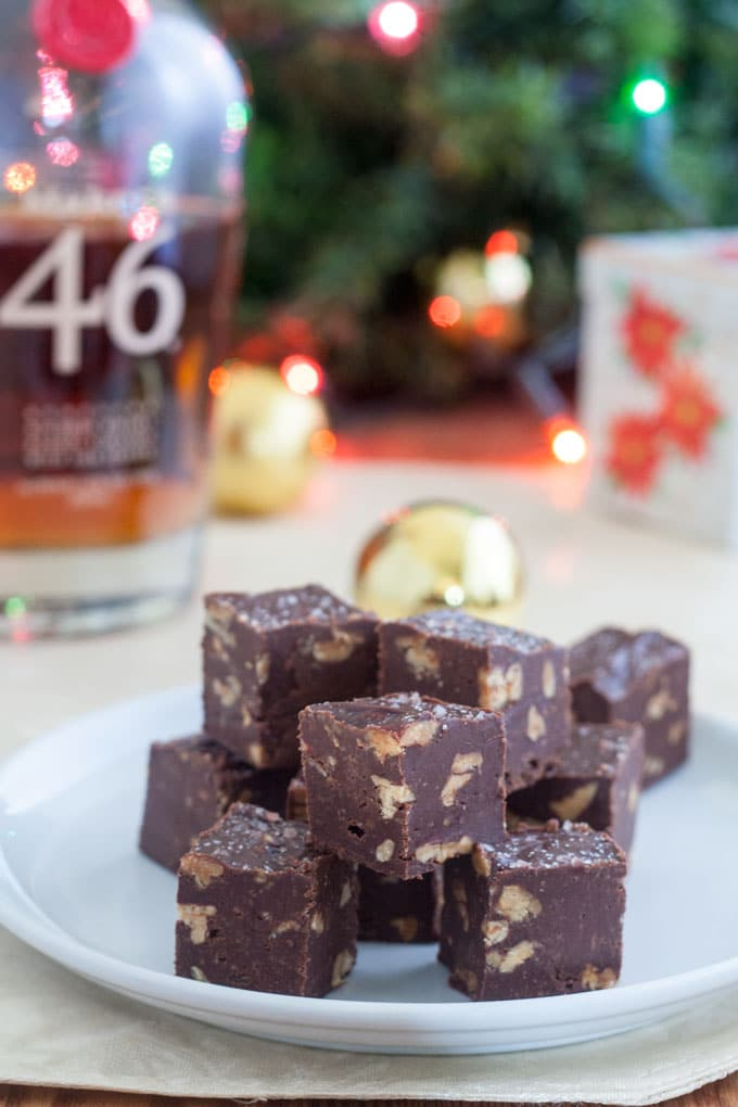 chocolate fudge recipe with bourbon bottle