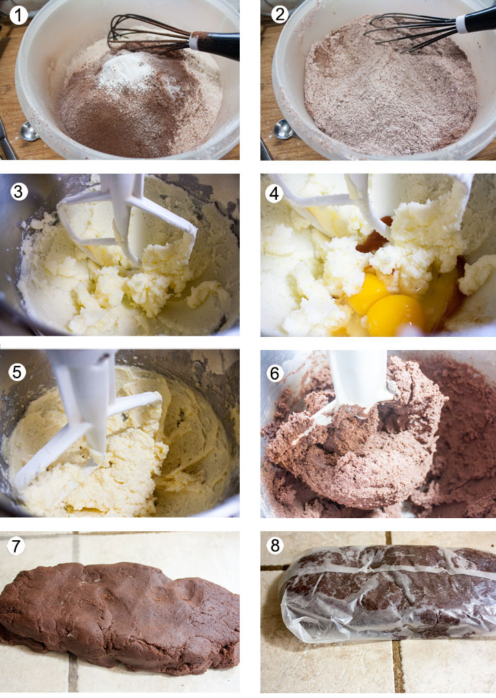 Dry ingredients in bowl. Dry ingredients whisked together. Creamed butter and sugar in mixer bowl. Eggs and vanilla added. Mixed wet ingredients. Dry ingredients added. Dough placed in waxed paper to chill. Waxed paper sealed.