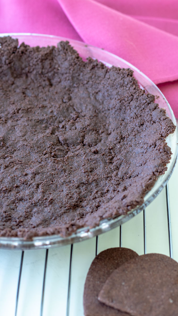 chocolate pie crust on white board