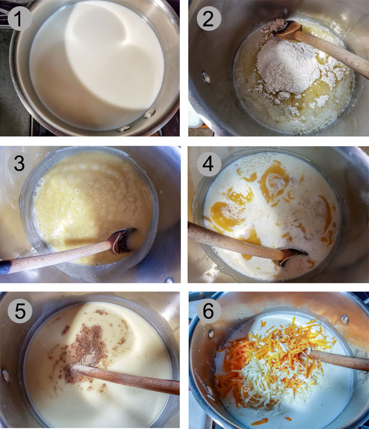Milk in pan. Butter and flour in pan. Roux bubbling in pan. Milk added to roux. pepper added to sauce. Cheese added