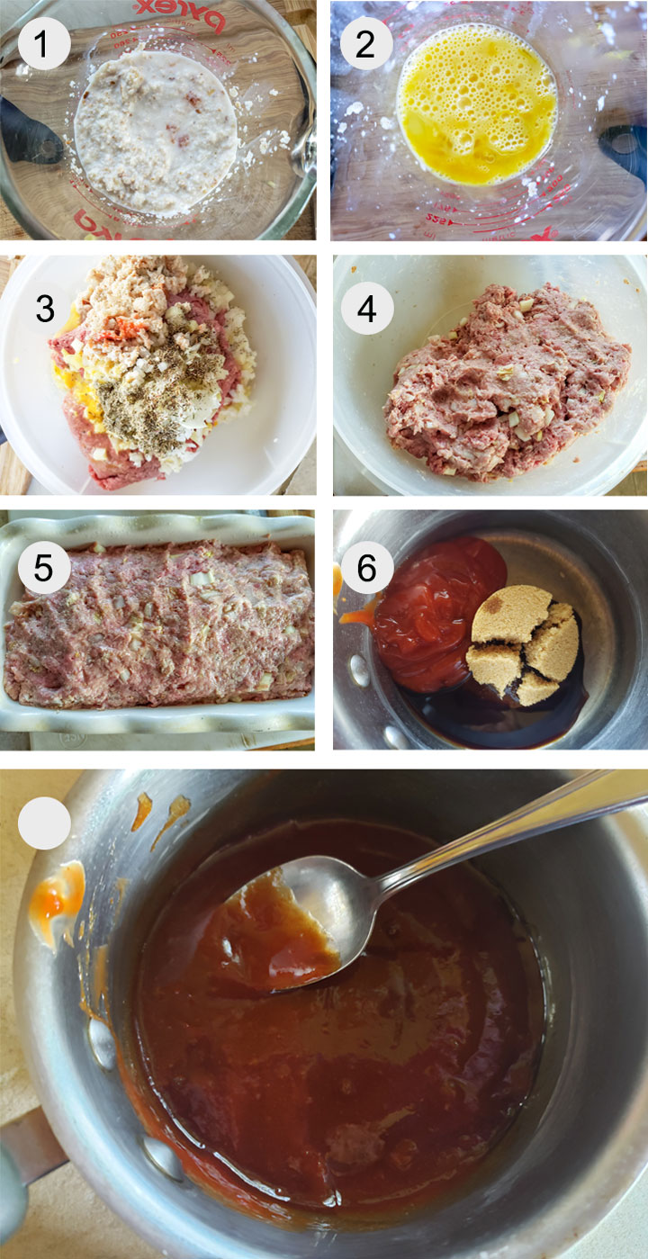 Bread crumbs soaking in milk. Whisked eggs. All ingredients with meat in bowl. Ingredients mixed together. Meatloaf in bread pan. Sauce ingredients added to pot. Sauce cooked down.