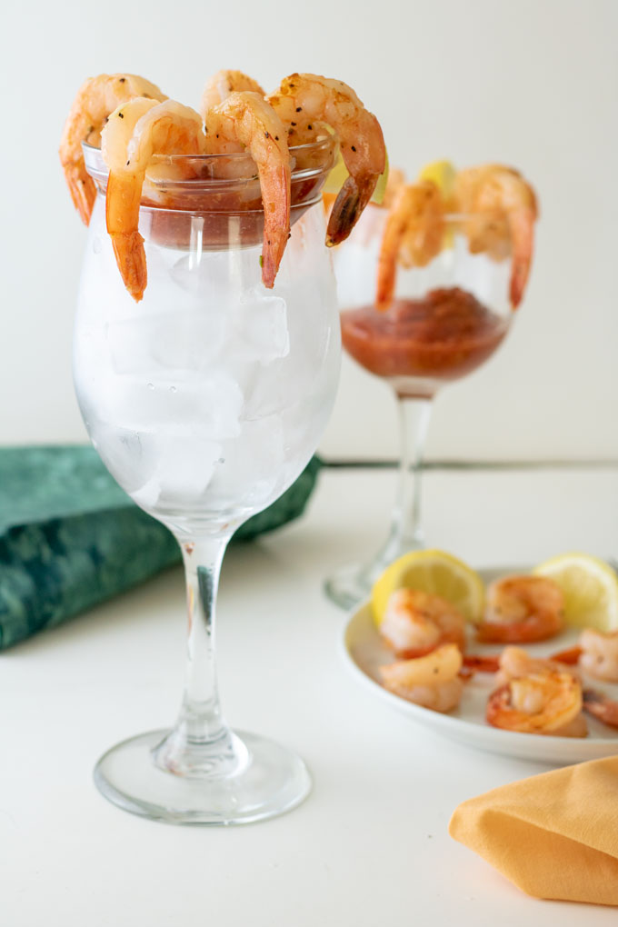 shrimp cocktail in tall glass.