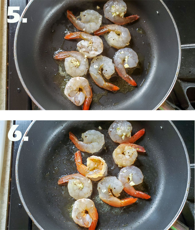 Uncooked shrimp in frying pan. Shrimp flipped so pink shows.