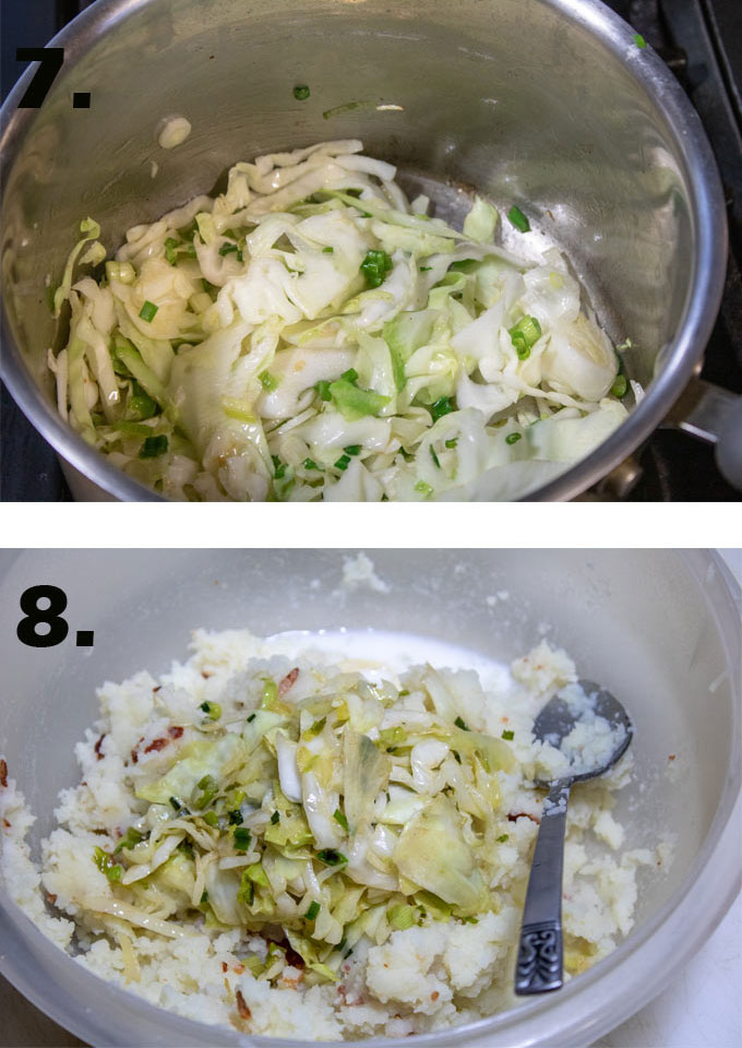 Cabbage sauteing in pot. Cabbage added to riced potatoes.