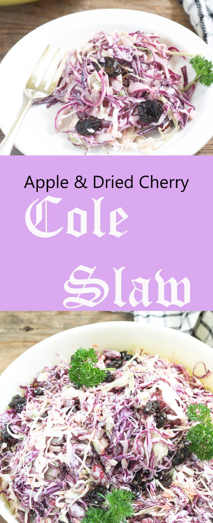 Apple & Dried Cherry Coleslaw Pinterest Pin