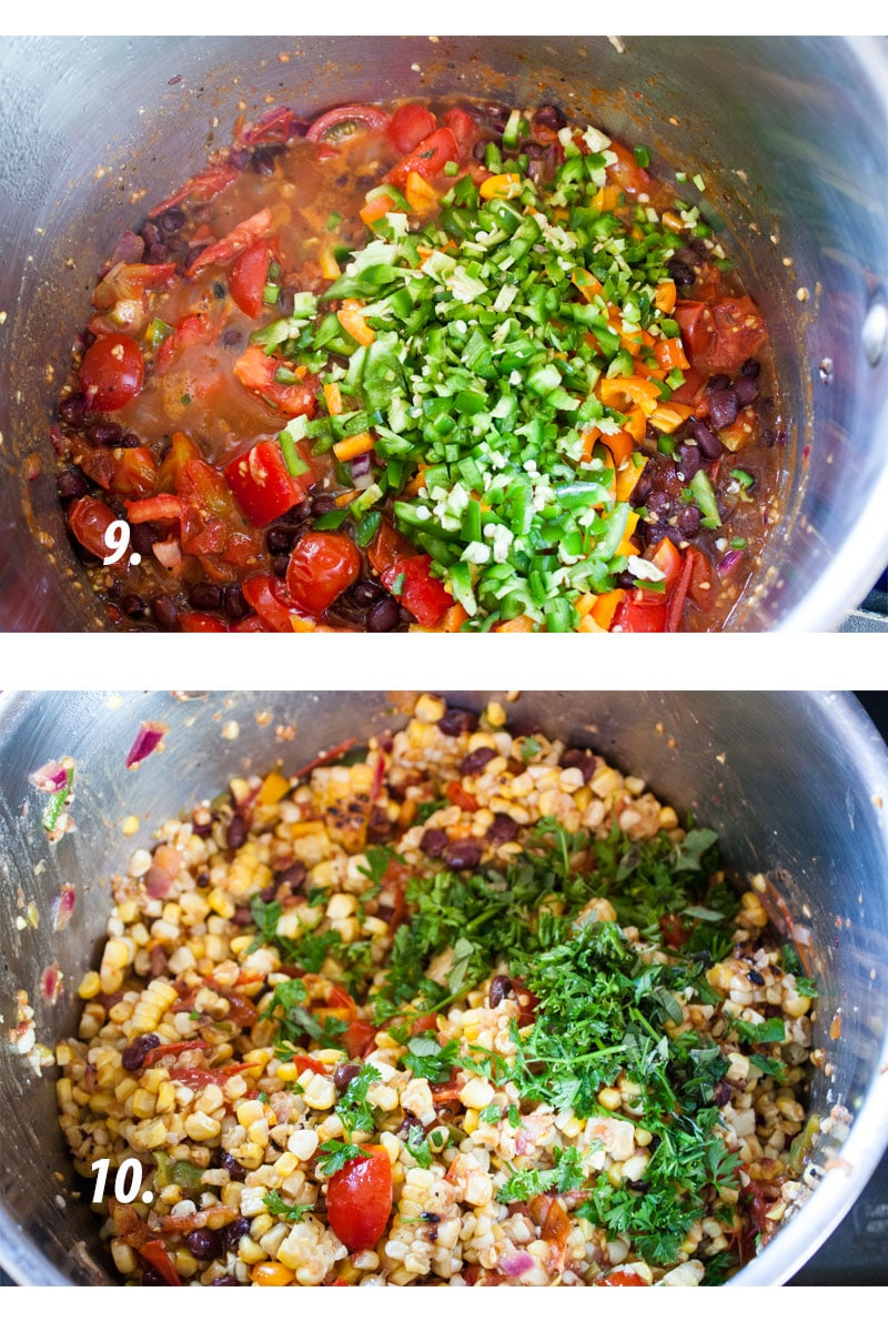 adding peppers and fresh herbs to salsa