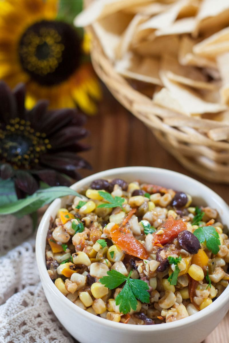 Colorful Corn and Black Bean Salsa overhead view with chips