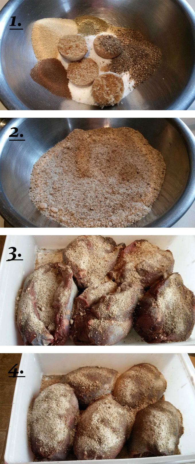 process photos for how to dry rub venison for corning #1