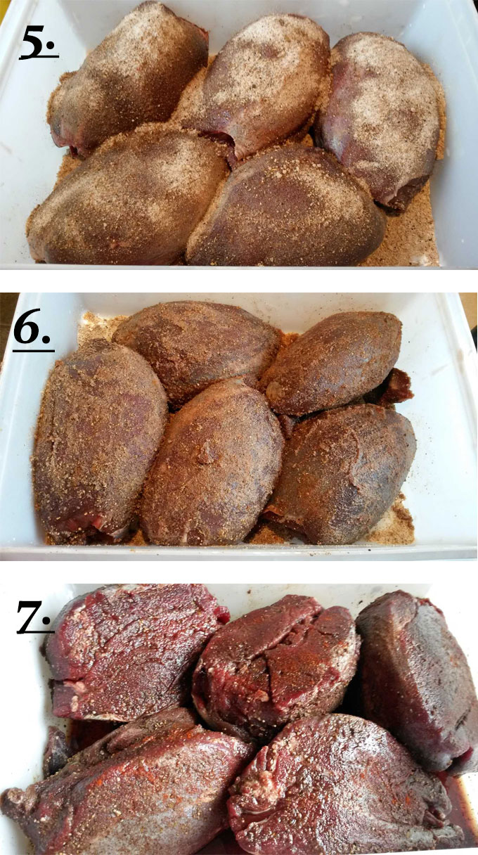 process photos for how to dry rub venison for corning #2