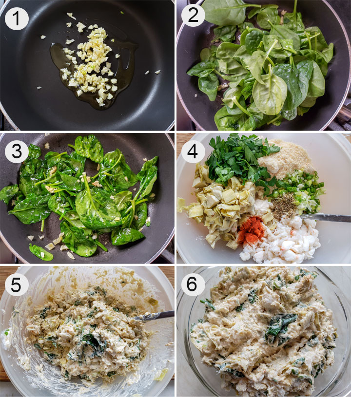 garlic in saute pan. Spinach added. Wilted spinach. All ingredients in large bowl. Mixed up ingredients. Dip in casserole.