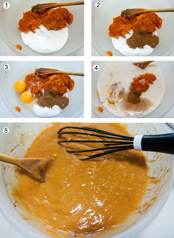 Pumpkin puree added to sugar. Spices added to bowl. Eggs added to bowl. Dairy free evaporated milk added. Pumpkin filling whisked until smooth.