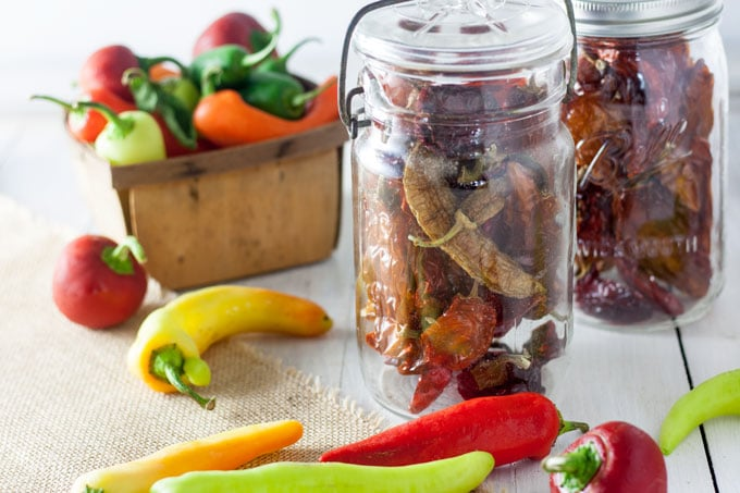 dried peppers in glass canning jars